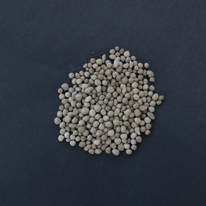 Photo to display the approximate size of Ground Forces greens grade pelletized lime, gypsum, and dolomite.